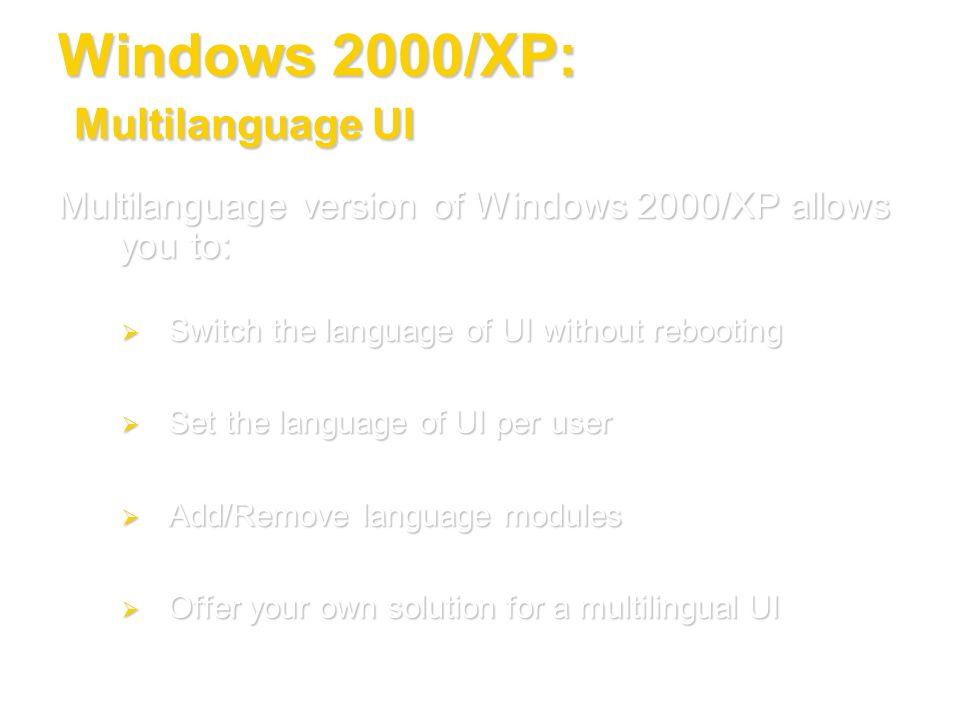 Windows 2000/XP: Multilanguage UI