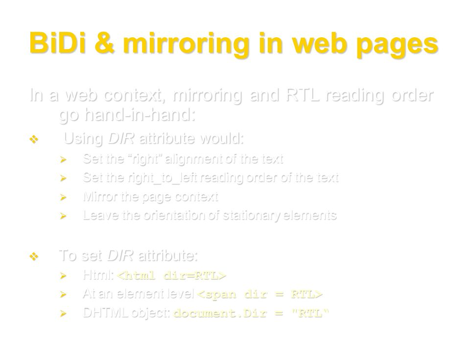 BiDi & mirroring in web pages