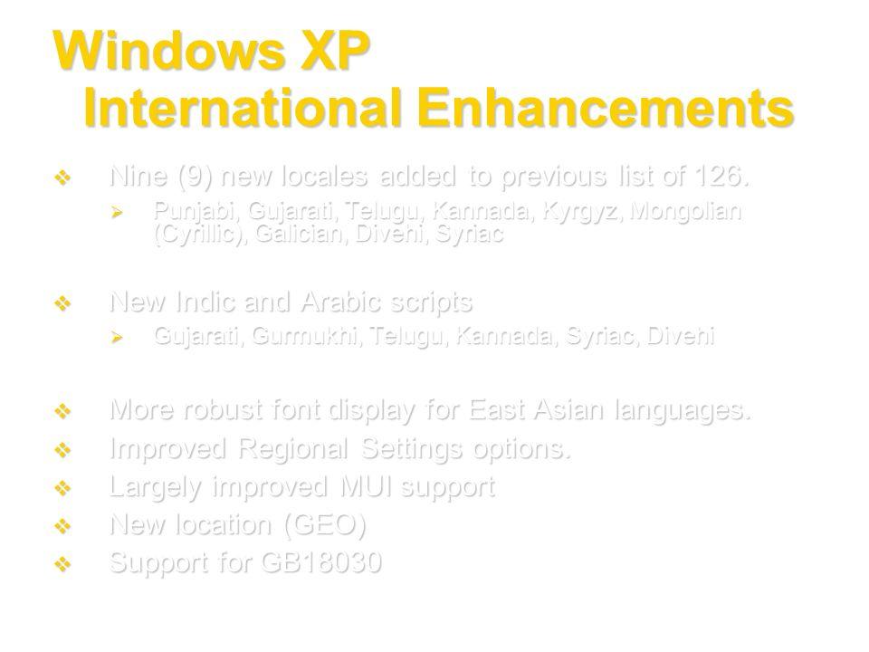 Windows XP International Enhancements