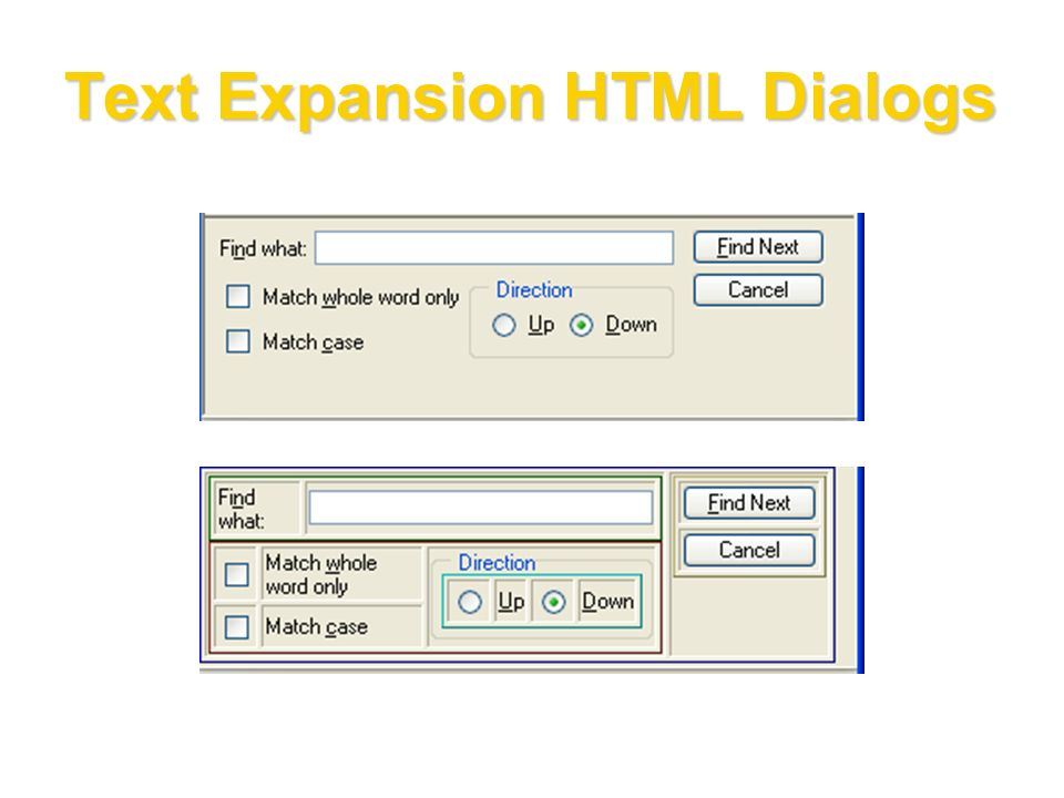 Text Expansion HTML Dialogs