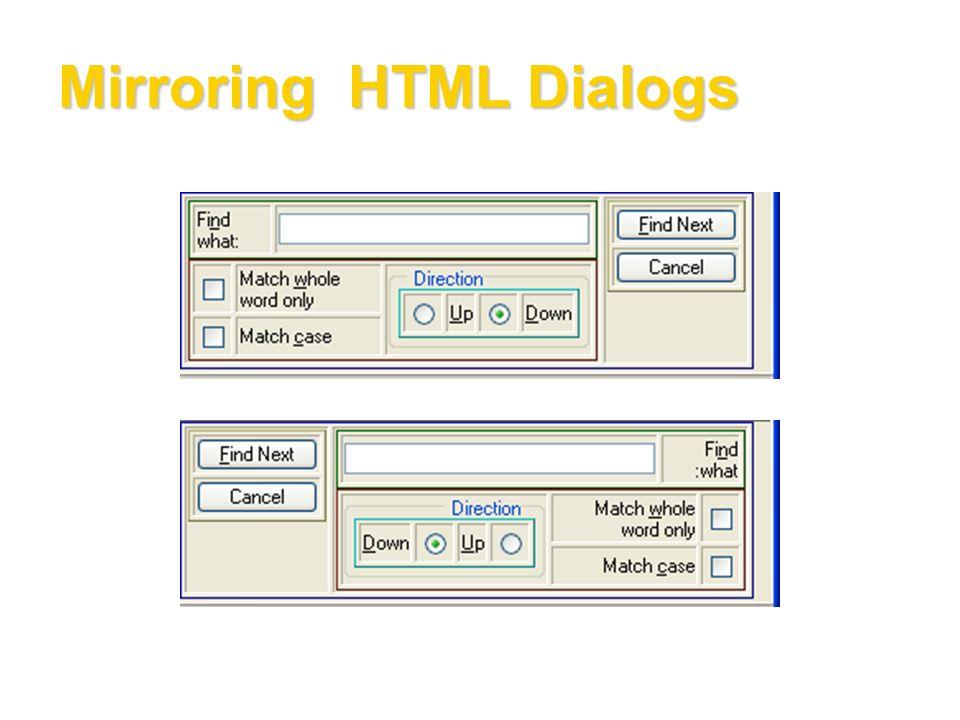 Mirroring HTML Dialogs