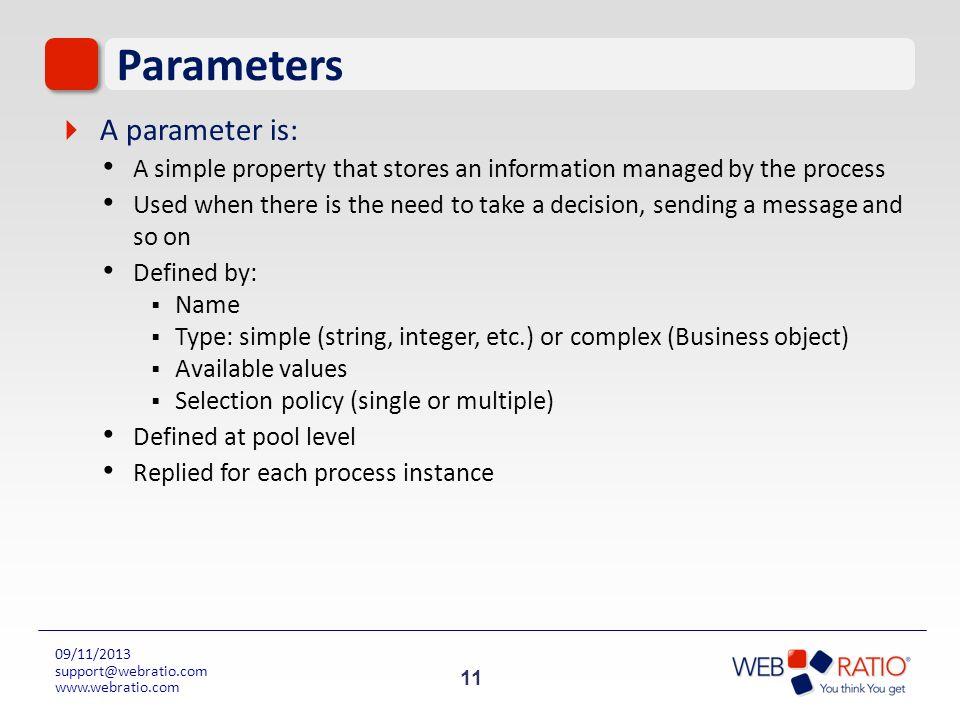 Parameters A parameter is: