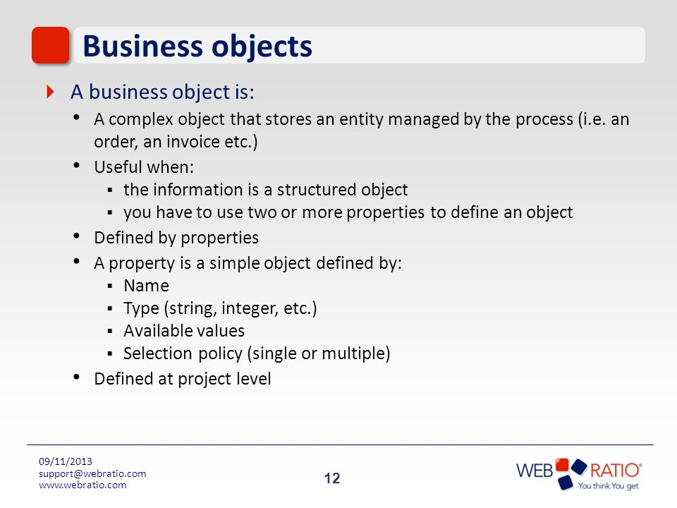 Business objects A business object is: