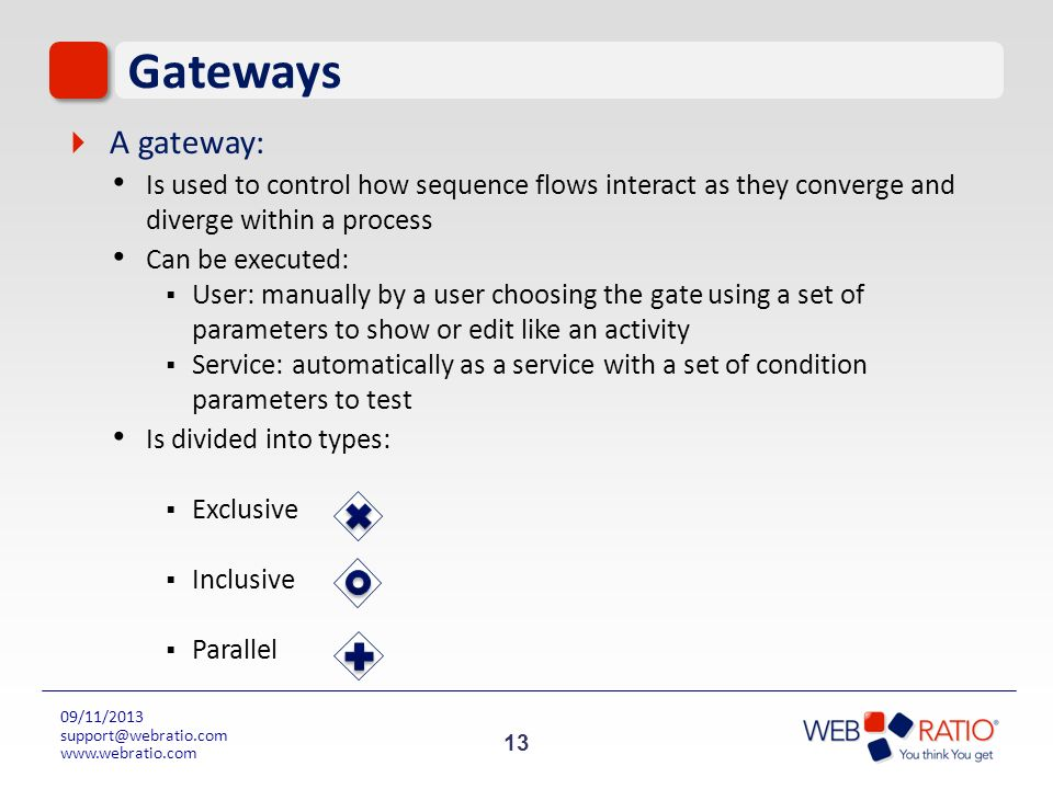 GatewaysA gateway: Is used to control how sequence flows interact as they converge and diverge within a process.