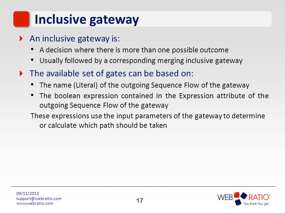 Inclusive gateway An inclusive gateway is: