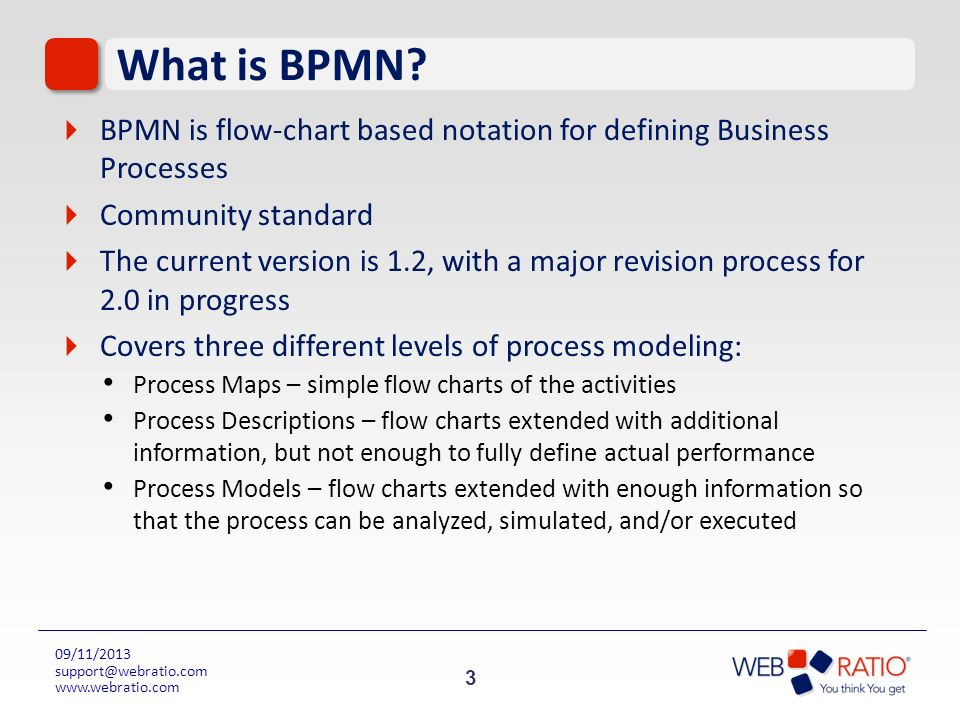 What is BPMN BPMN is flow-chart based notation for defining Business Processes. Community standard.