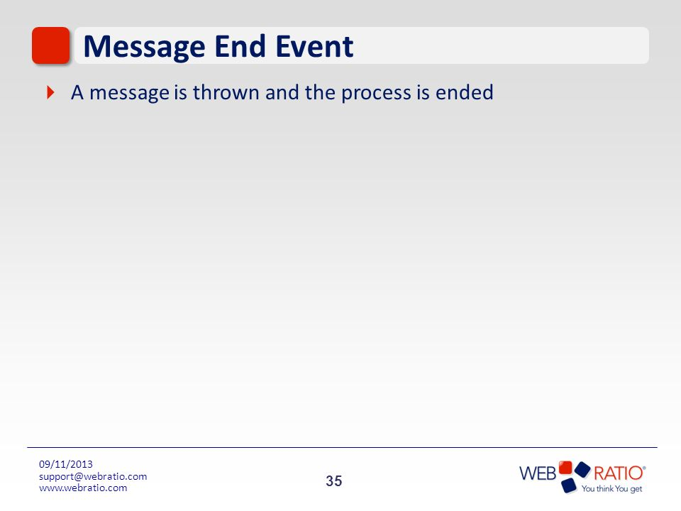 Message End Event A message is thrown and the process is ended