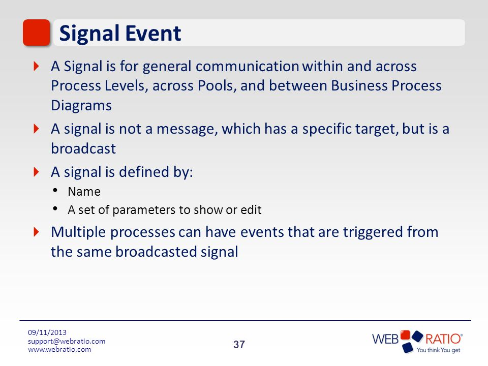 Signal Event A Signal is for general communication within and across Process Levels, across Pools, and between Business Process Diagrams.