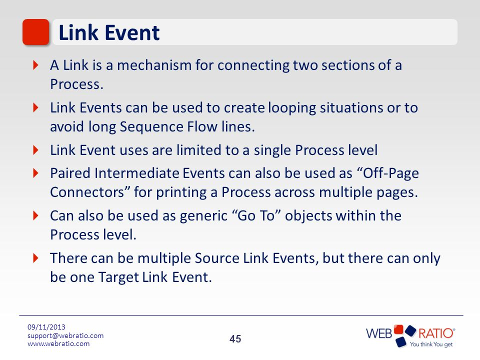 Link Event A Link is a mechanism for connecting two sections of a Process.