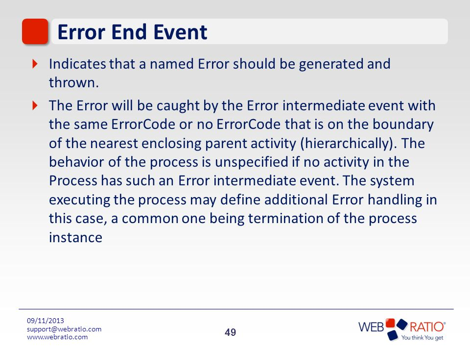 Error End EventIndicates that a named Error should be generated and thrown.