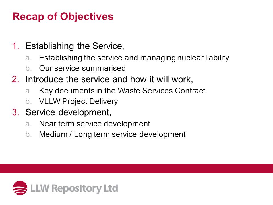 Recap of Objectives Establishing the Service,