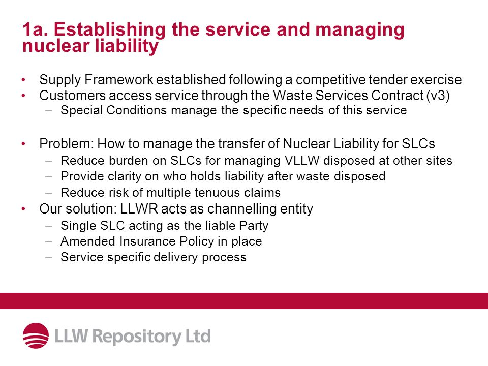 1a. Establishing the service and managing nuclear liability