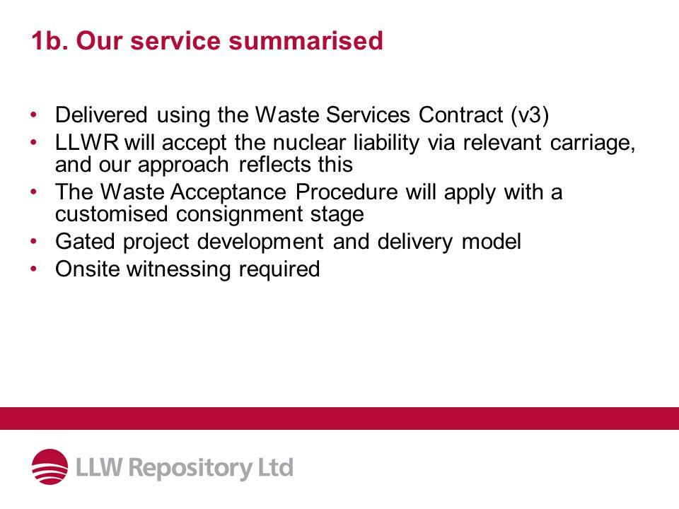 1b. Our service summarised