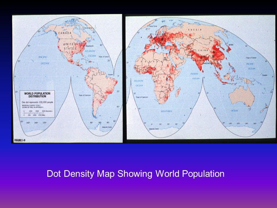 Dot Density Map Showing World Population