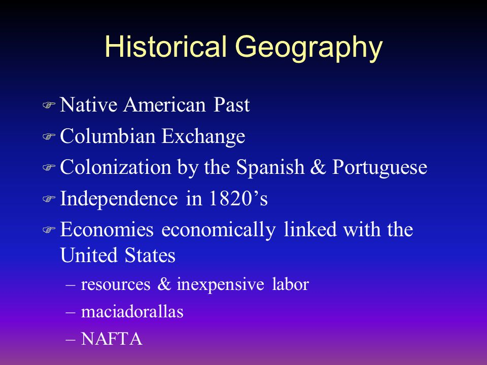 Historical Geography Native American Past Columbian Exchange
