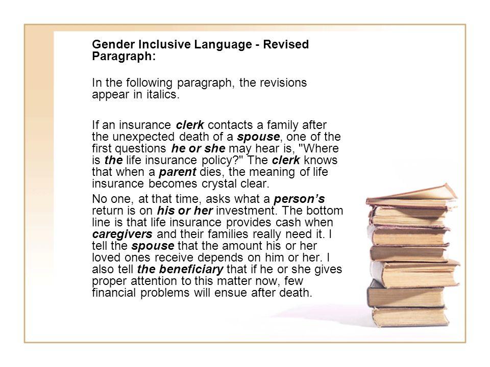 Gender Inclusive Language - Revised Paragraph: