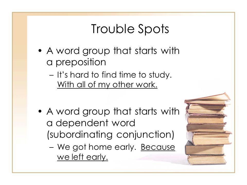 Trouble Spots A word group that starts with a preposition