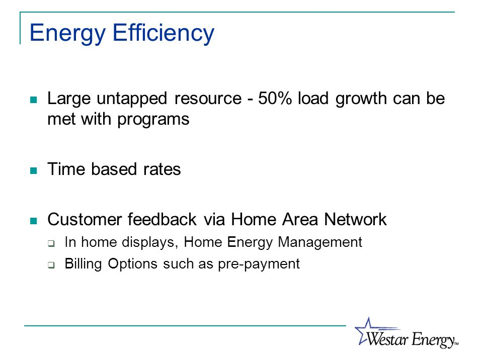 Energy Efficiency Large untapped resource - 50% load growth can be met with programs. Time based rates.