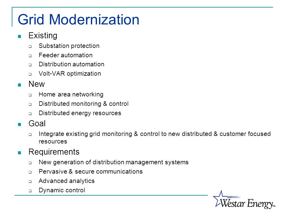 Grid Modernization Existing New Goal Requirements