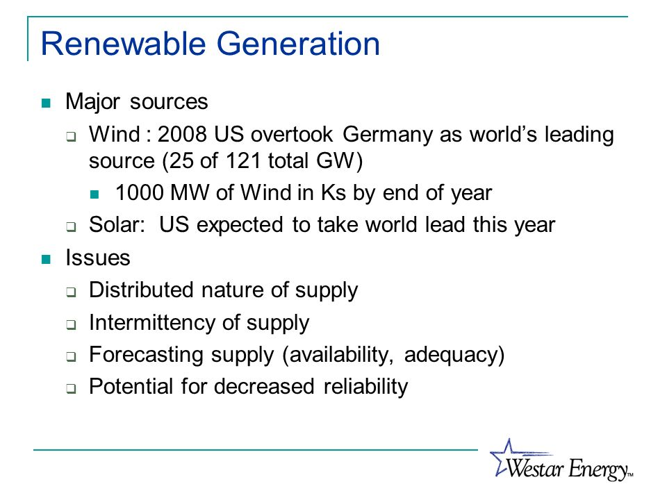 Renewable Generation Major sources Issues