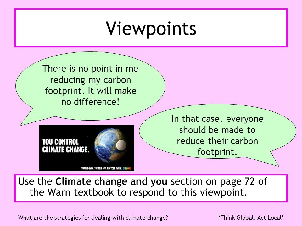 Viewpoints There is no point in me reducing my carbon footprint. It will make no difference!