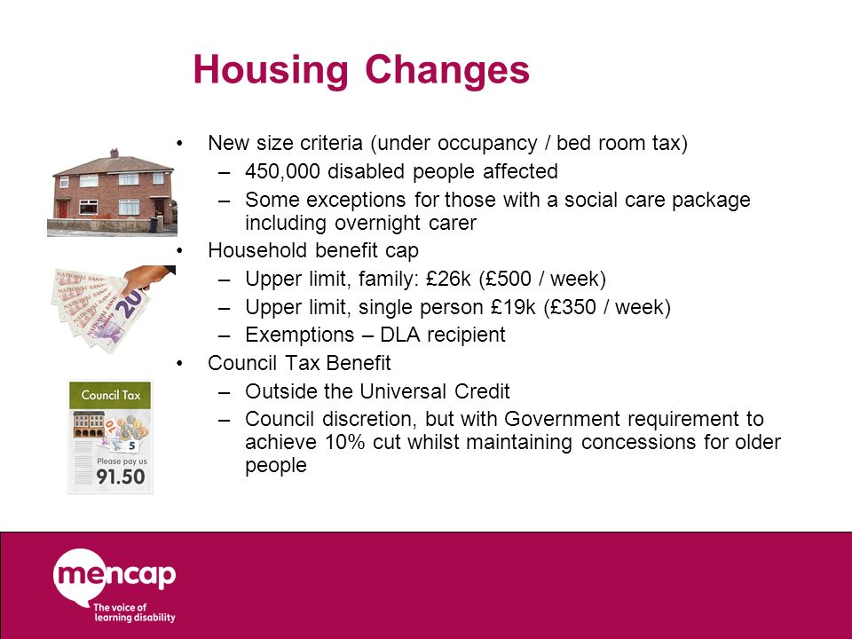 Housing Changes New size criteria (under occupancy / bed room tax)