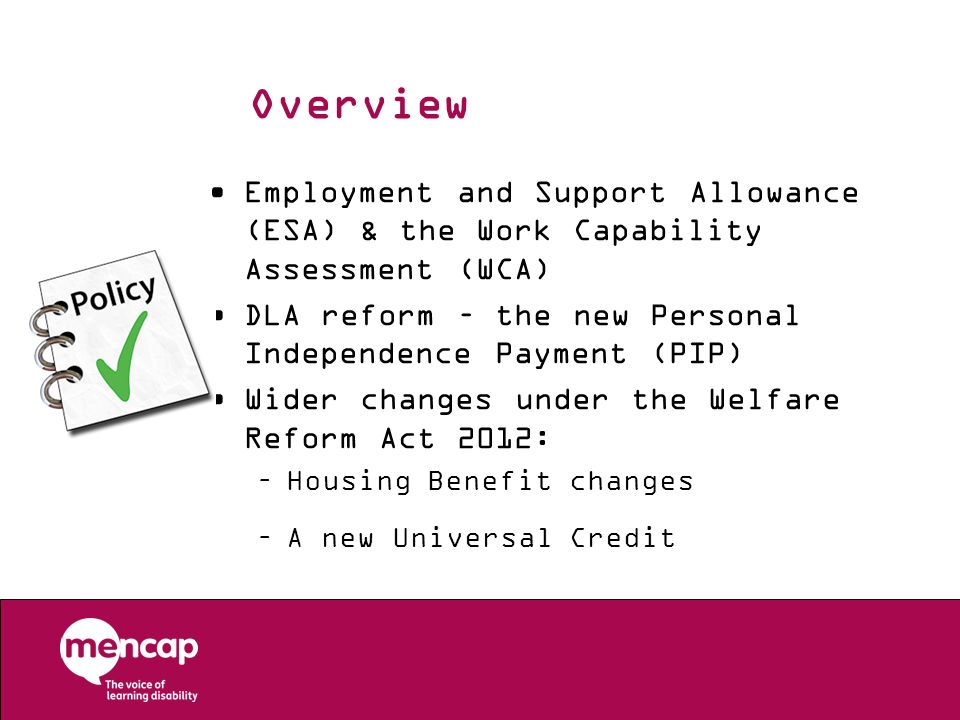 Overview Employment and Support Allowance (ESA) & the Work Capability Assessment (WCA) DLA reform – the new Personal Independence Payment (PIP)
