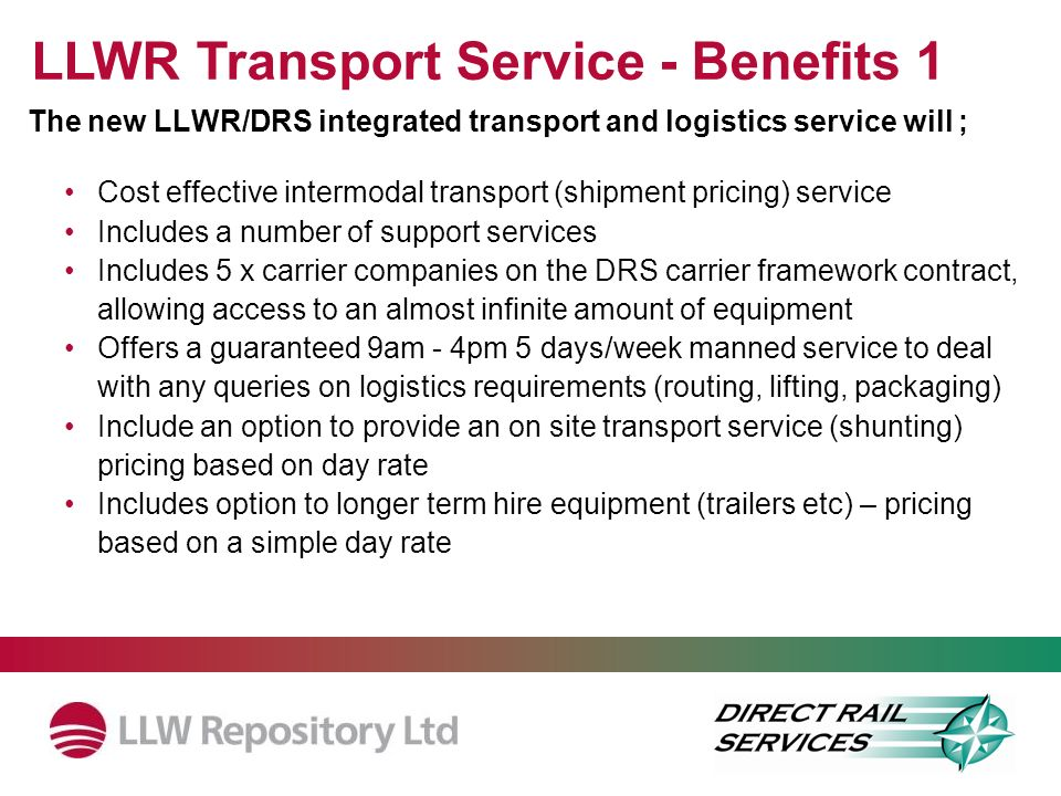 LLWR Transport Service - Benefits 1