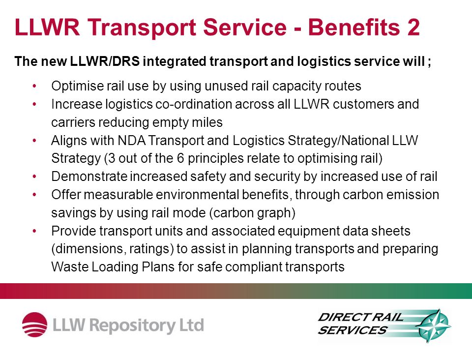 LLWR Transport Service - Benefits 2