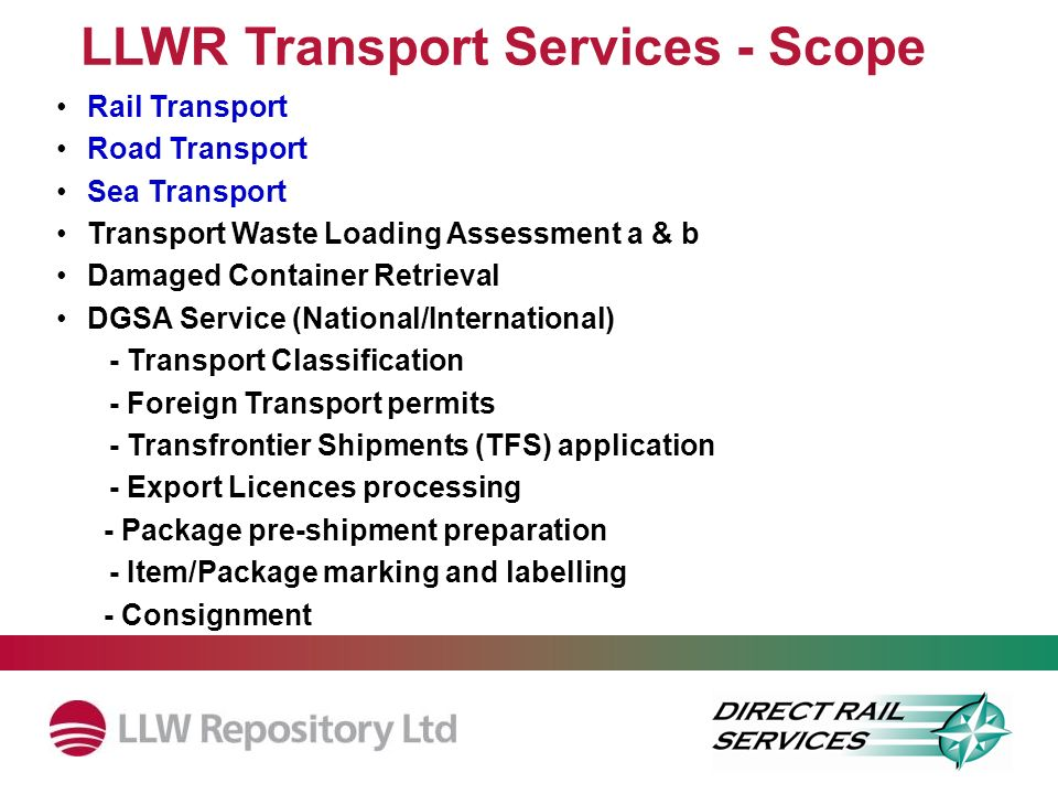 LLWR Transport Services - Scope