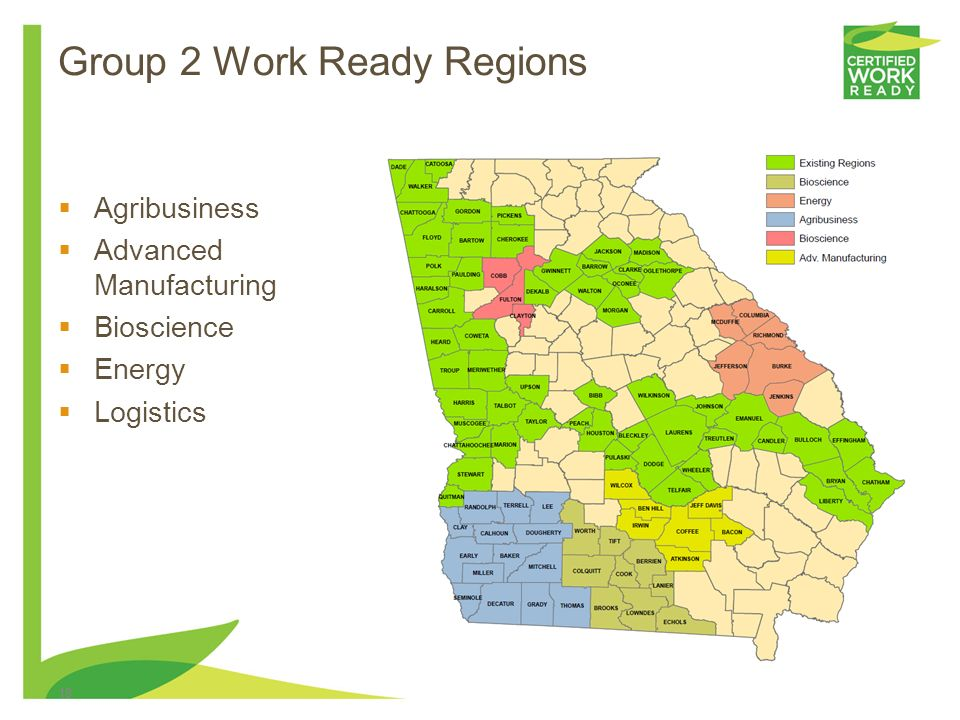 Group 2 Work Ready Regions