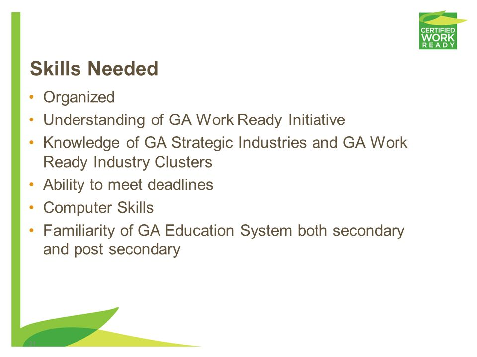 Skills Needed Organized Understanding of GA Work Ready Initiative