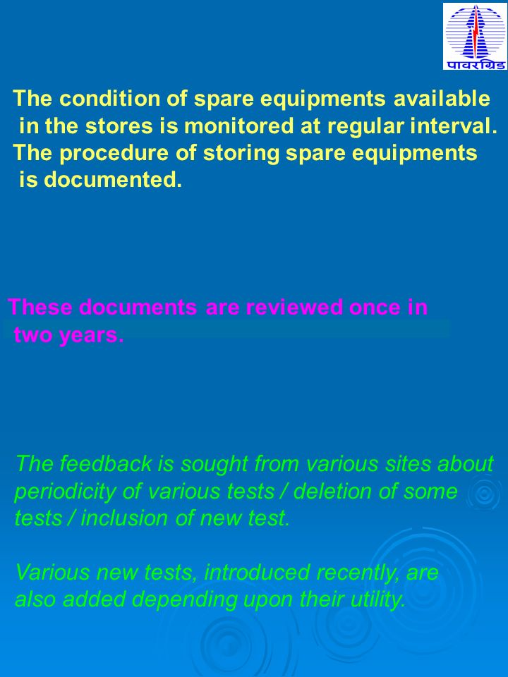 The condition of spare equipments available