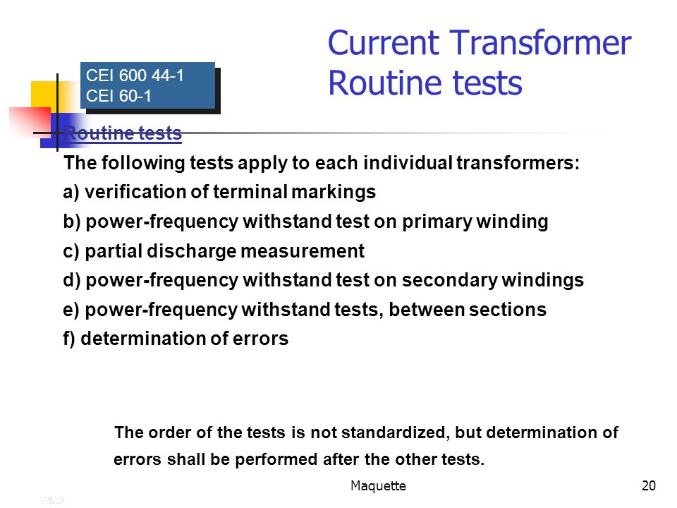 Current Transformer Routine tests