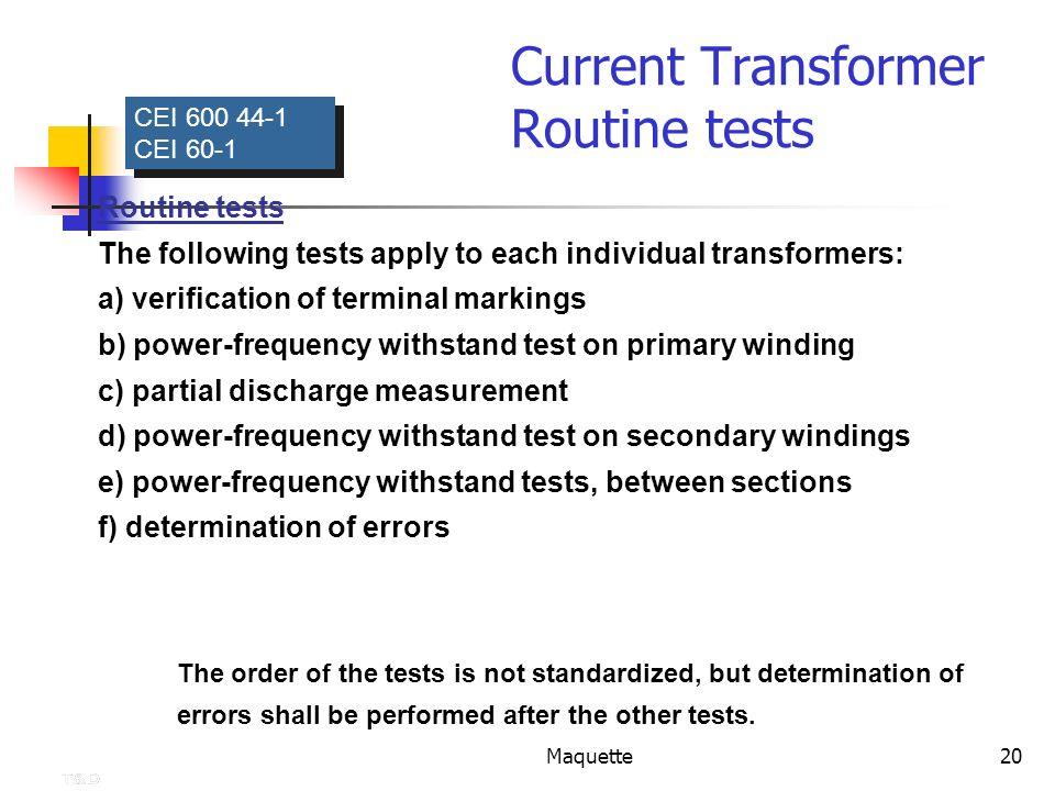 Current Transformer Routine tests