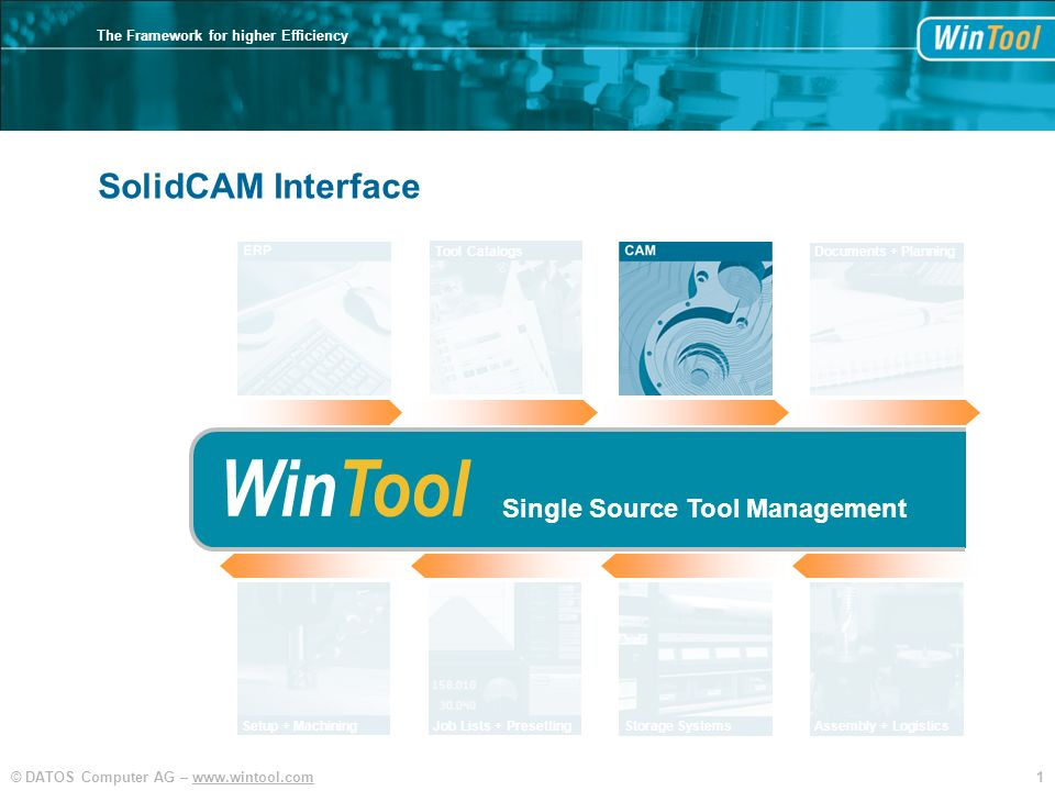 WinTool SolidCAM Interface Single Source Tool Management Tool Catalogs