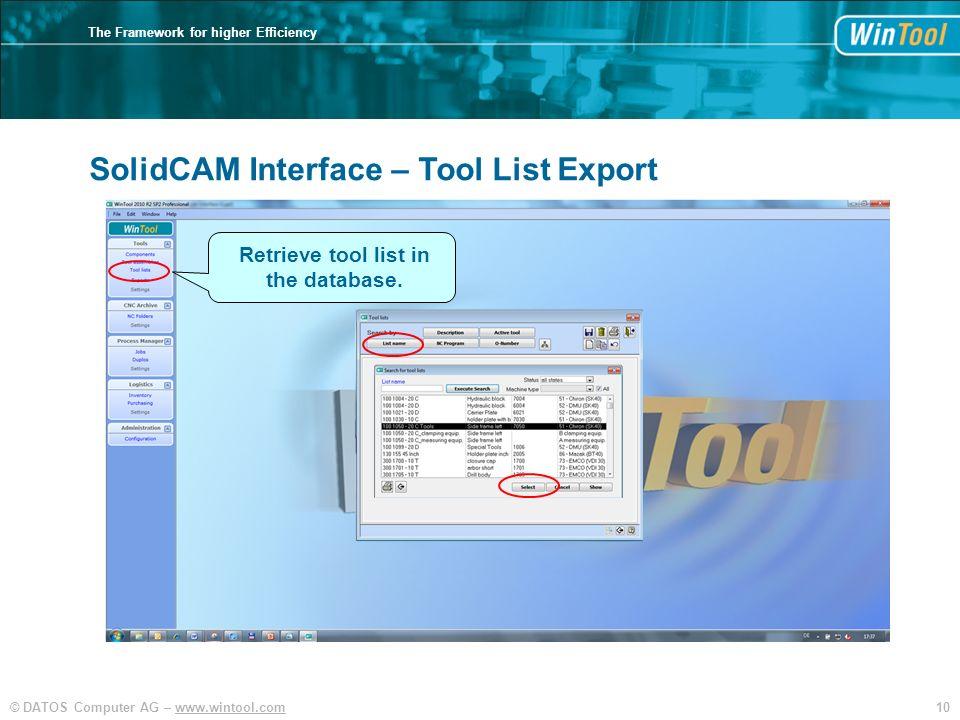 Retrieve tool list in the database.