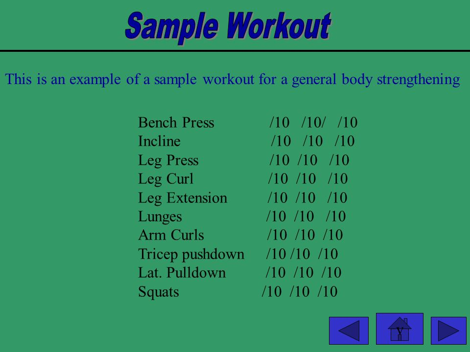 Sample Workout This is an example of a sample workout for a general body strengthening. Bench Press /10 /10/ /10.