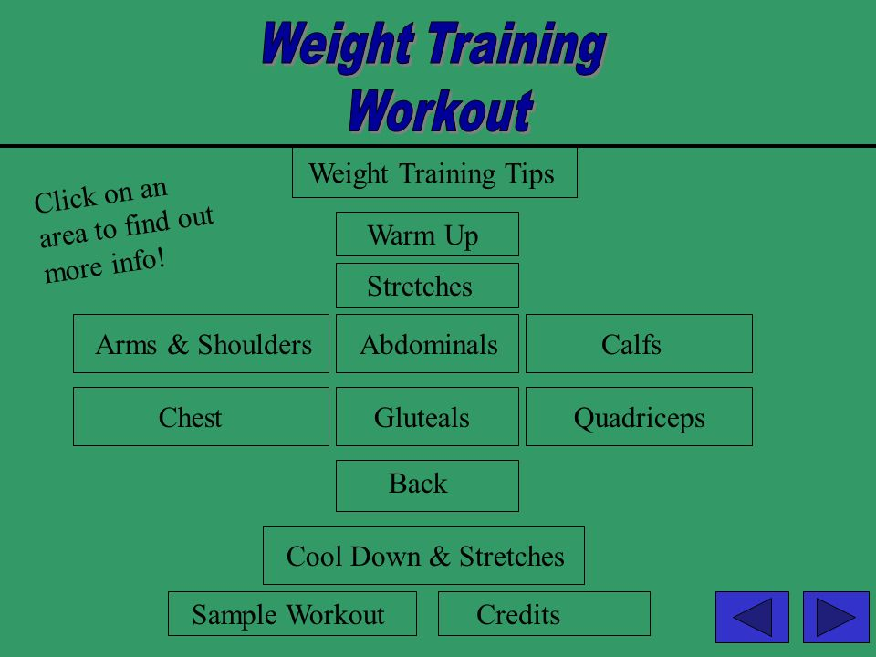 Weight Training Workout Weight Training Tips Click on an
