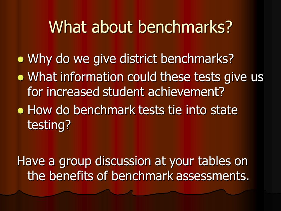 What about benchmarks Why do we give district benchmarks