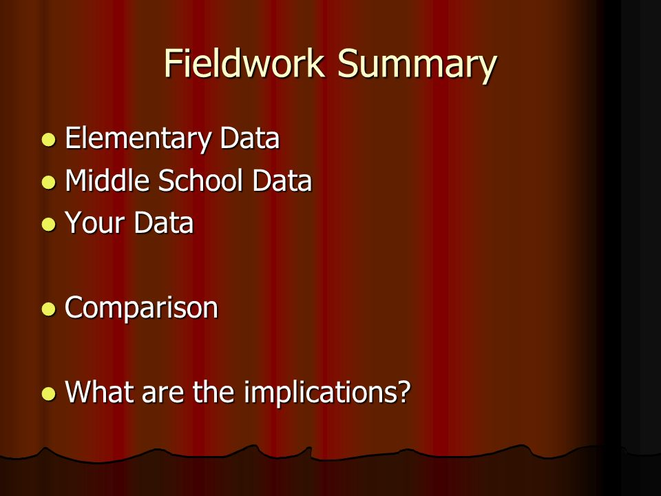 Fieldwork Summary Elementary Data Middle School Data Your Data