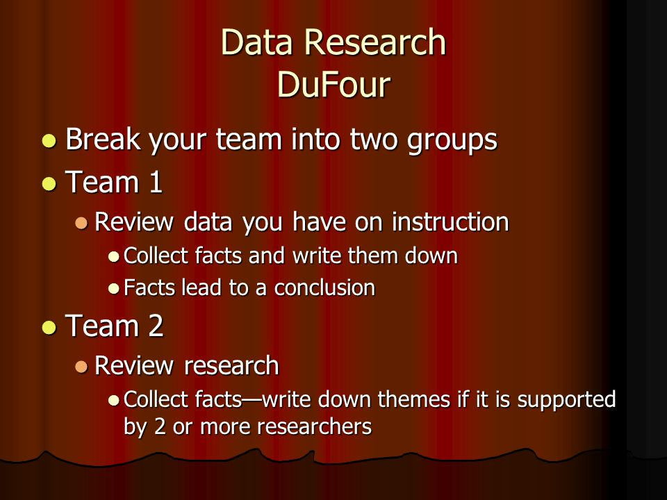 Data Research DuFour Break your team into two groups Team 1 Team 2