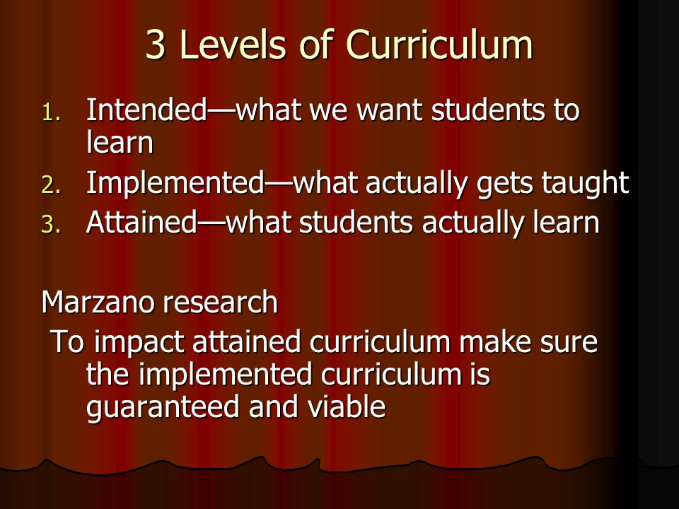 3 Levels of Curriculum Intended—what we want students to learn