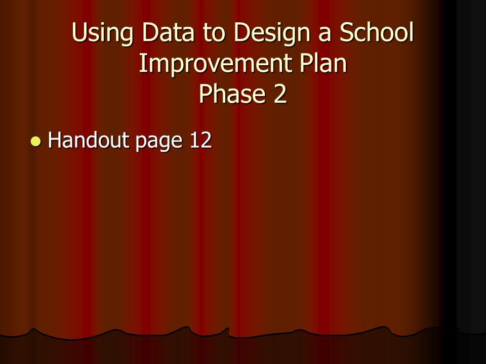Using Data to Design a School Improvement Plan Phase 2