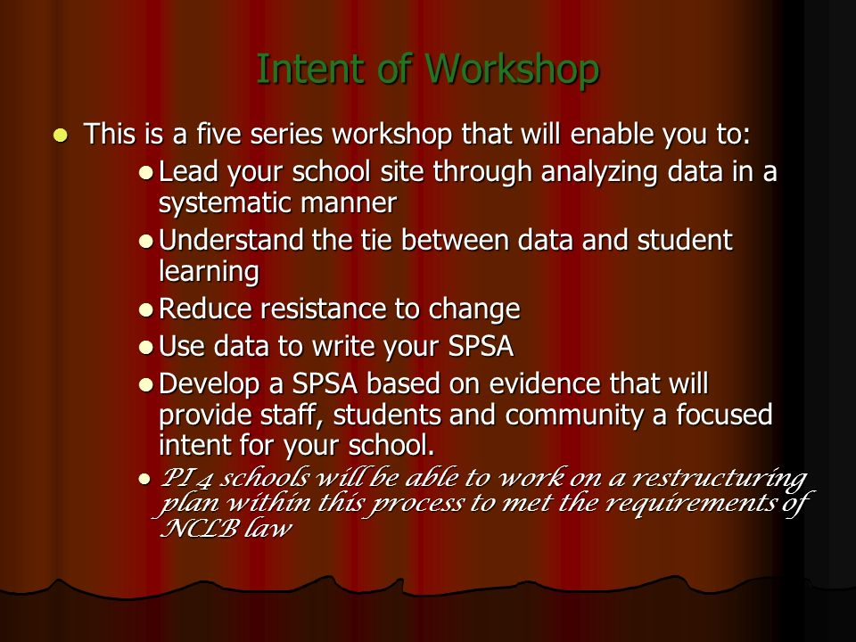 Intent of Workshop This is a five series workshop that will enable you to: Lead your school site through analyzing data in a systematic manner.