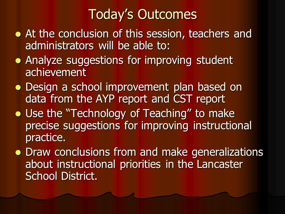 Today's Outcomes At the conclusion of this session, teachers and administrators will be able to: