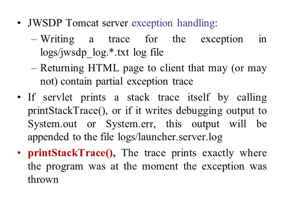 JWSDP Tomcat server exception handling: