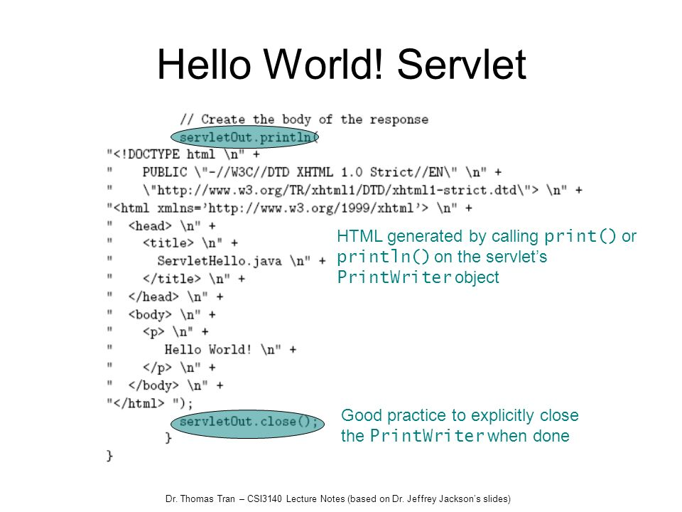Hello World! Servlet HTML generated by calling print() or println() on the servlet's. PrintWriter object.