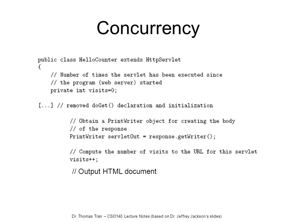 Concurrency // Output HTML document