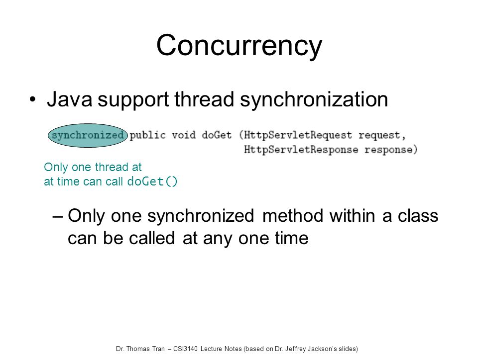 Concurrency Java support thread synchronization